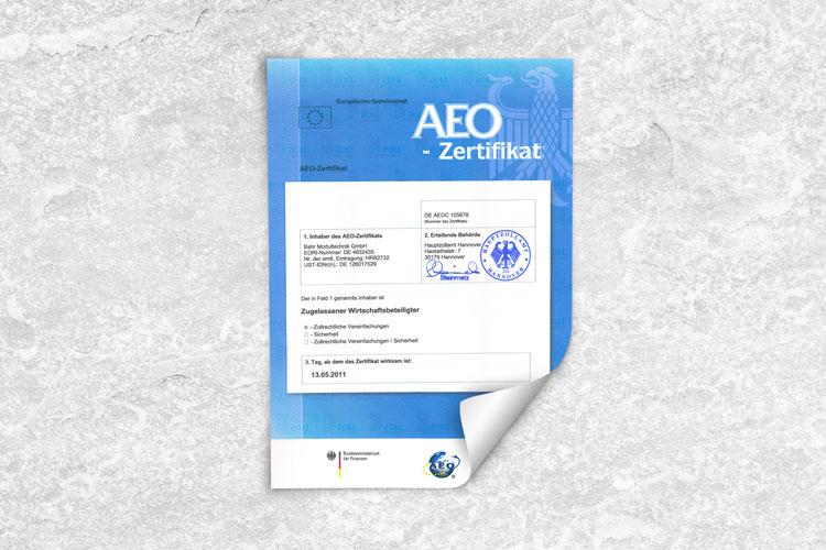 AEO-ZERTIFIKAT Zugelassener Wirtschaftsbeteiligter